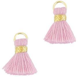 Kwastje Ibiza/bohemian  style 1.5cm Gold-vintage pink