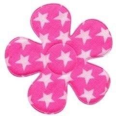Bloem roze met witte sterren 4,5 cm