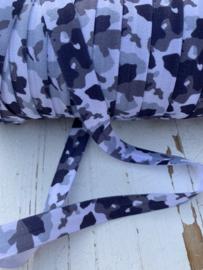 Elastische leger print grijs biasband (haarband)