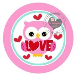 Flatback  uiltje & roze love