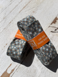 Biasband grijs/groen met gekleurde confetti  stip katoen