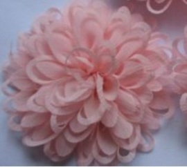 Bloem chiffon licht roze 7.5 cm