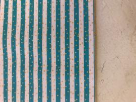 Leer streep  wit/aqua met gouden stipjes