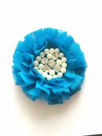 Luxe bloem met strass en parels turquoise blauw