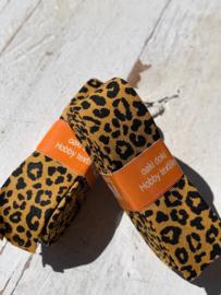 Biasband tijger/panter print oker