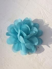 Chiffon bloem blauw 7cm