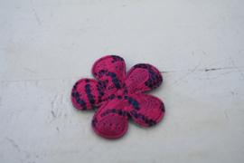 Bloem satijn donkerblauw /kant hot pink 3.5cm