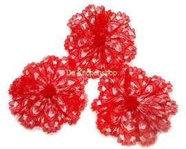 Kanten rozet/bloem rood  4,5cm