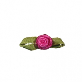Roosje satijn fuchsia op blad 10 x 30 mm (B)