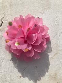 Bloemen chiffon 7 cm roze polkadot goud