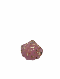 Flatback kraal schelp lichtroze glitter goud