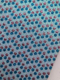 Glitter leer stip/polkadot licht blauw/roze/blauw 20x22 cm