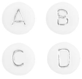 Letterkralen wit zilver