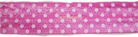 Elastisch biasband polkadot  roze