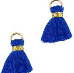 Kwastje Ibiza/bohemian  style 1.5cm Gold-jeans blue