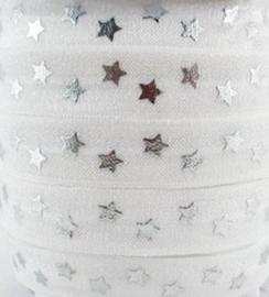 Elastisch haarband wit met zilver ster