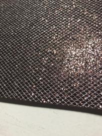 Glitter leer grof ruit motief bruin/zilver