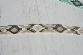 Elastisch haarband  creme met ibiza print