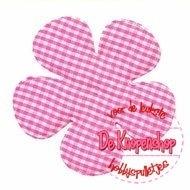 Geruite bloem 6,5cm hot pink
