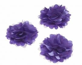 Stoffen satijn bloem met schijfje 5cm *paars* pst