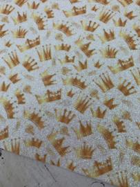 Leer glitter wit kroonjes goud/oranje