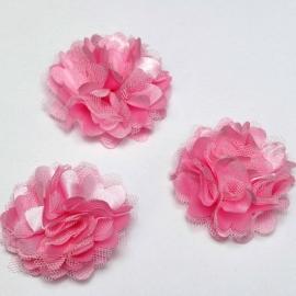 Stoffen satijn bloem met schijfje 5cm *roze* pst