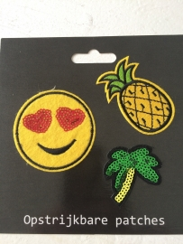 Patches Ananas/Palmboom/Emoticon opstrijkbaar