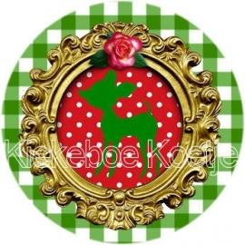 Flatback hertje groen rood (B6)