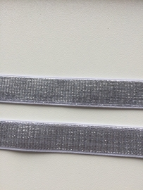 Elastisch band wit met zilver glitter 2cm