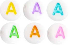 Letterkraal van acryl letter A Multicolor-Wit