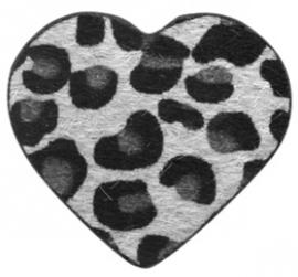 Hanger pu leer  hart harig met tijgerprint zilver grijs