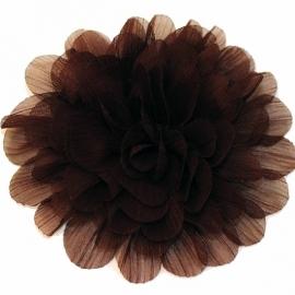 Stoffen satijn bloem XL bruin met schijfje 9cm  pst