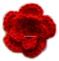 A0226 Gehaakte katoenen bloem rood