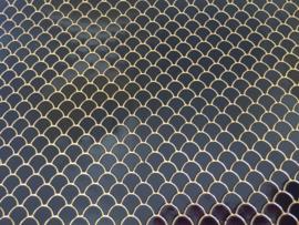 Zeemeermin staart patroon leer zwart/goud