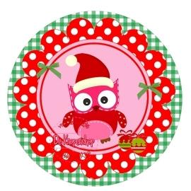 Flatback kerst uiltje polkadot rood op groene ruit (k149)