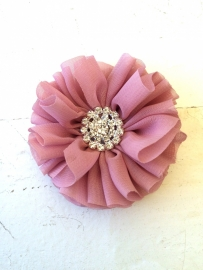 Luxe bloem met strass  dusty pink