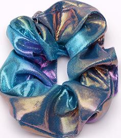 Scrunchies Haarwokkel  metalic blauw goud roze
