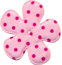 Polkadot bloem 3.5cm roze met fuchsia stip