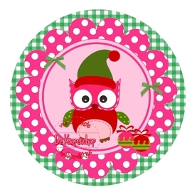Flatback kerst uiltje polkadot fuchsia op groene ruit (k150)