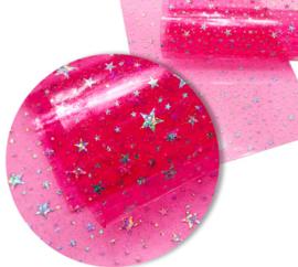 Leer doorzichtig/transparant neon roze  glinster sterren 20x30 cm