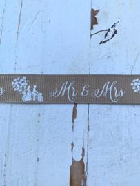 Sierband tekst Mr & Mrs  2.5 cm beige