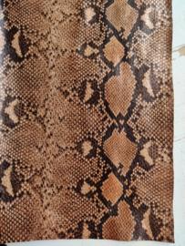 Slangen print leer bruin glans
