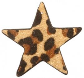Hanger pu leer ster harig met tijgerprint camel bruin