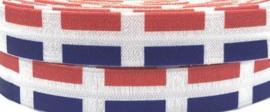 Elastische vlaggetjes horizontaal rood-wit-blauw biasband (haarband)