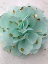 Bloemen chiffon 10 cm mint polkadot goud