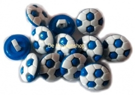 KN465a Voetbal knoop blauw wit