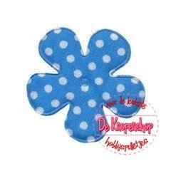 Polkadot bloem 3,5cm blauw katoen