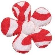 Applicatie bloem met zebra print wit/rood 4.5 cm