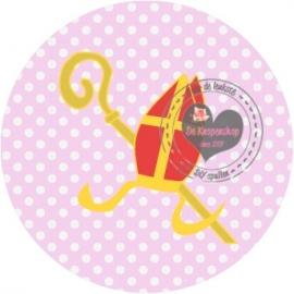 Flatback  mijter roze met stip