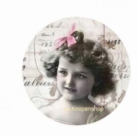 Flatback meisje & roze strikje (k120)